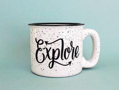 Explore Mug 15 oz Campfire Stoneware Speckled Mug Fathers Day Gift Hand lettered WildandFreeDesigns by WildandFreeDesigns on Etsy https://www.etsy.com/listing/230619291/explore-mug-15-oz-campfire-stoneware