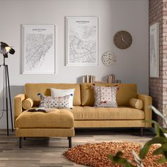 Mid-century design is knocking on your door. The Debra sofa is back with a new look. It comes with new upholstery in 3 colours: mustard, light grey and dark grey Interior S, Interior Design, White Buffet, Home Salon, Mid Century Design, Love Seat, Upholstery, Furniture Design, Things To Come