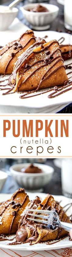 EASY one bowl Pumpkin Crepes are so much better than plain crepes!! Smother in silky, chocolate Nutella or stuff with cream cheese, or douse in syrup – amazing any way your serve them! #crepes #recipe #pumpkin #chocolate #fall [Promotional Pin] (sweepstakes)