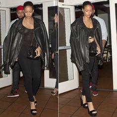 Rihanna Schott NYC classic perfecto motorcycle jacket, citizens of humanity avedon slick skinny jeans, jacquie aiche diamond body chain