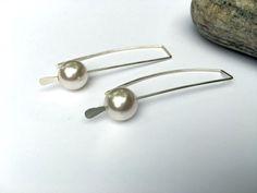 Minimalist gift. Long, lean PowerPearls™ threader earrings. 925 silver handmade. https://www.etsy.com/listing/266141863/minimalist-earrings-valentine-gift-for #etsymntt #gift #fashion
