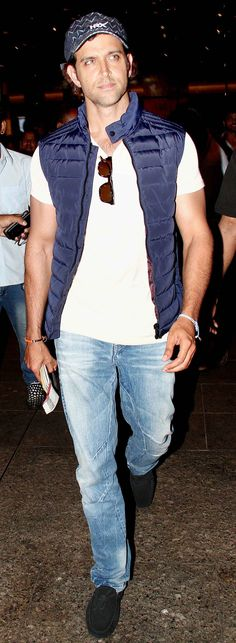 Hrithik Roshan spotted at Mumbai airport. #Bollywood #Fashion #Style #Handsome