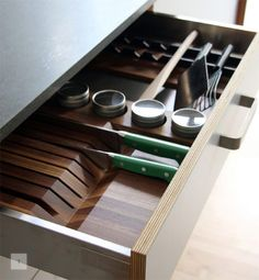 """PLASTOLUX """"keep it modern"""" » The kitchen that Henrybuilt Great drawer fronts and inserts. This drawer uses Grass box sides and runners instead of Blum Hardware."""
