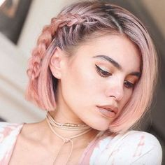 Braids are really cute rose gold hairstyles!