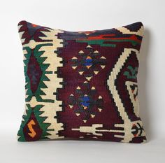 Ethnic Kilim Pillowcase Vintage Tribal Handwoven by pillowme Boho Pillows, Kilim Pillows, Kilim Rugs, Throw Pillows, Pillow Inserts, Pillow Covers, Organic Modern, Unique Colors, Green And Purple