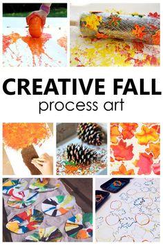 Creative Fall Process Art Ideas for Kids. Autumn sensory art and process art projects for preschool and kindergarten