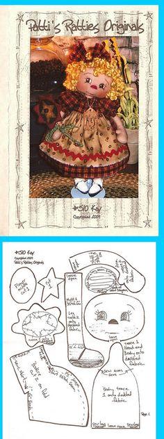 Primitive Doll ornie Ornament painted Cupboard Tucks Paper Patten