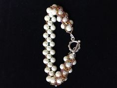Pearl and Crystal Beadwork Bracelet in Bronzes. £25.00