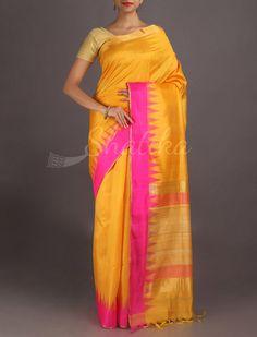 Aishwarya Alphonso Yellow Temple Border #DupionSilkSaree