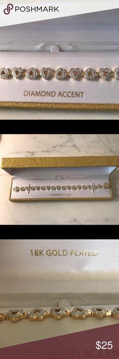 18kt Gold Plated Diamond Accent Heart Bracelet 18kt Gold Plated Diamond Accent Heart Bracelet Jewelry Bracelets