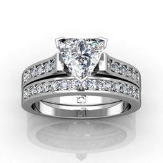 Contoured Diamond Engagement Ring Set with Trillion Diamond