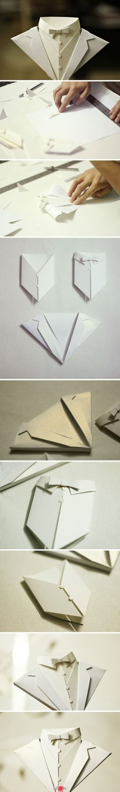 Repiny - Most inspiring pictures and photos! Diy Paper, Paper Art, Cool Paper Crafts, Paper Crafts Origami, Origami Tie, Origami Shirt, Origami Dress, Oragami, Inspiring Pictures