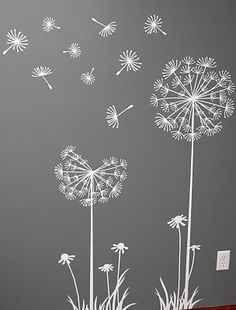Flowers / Floral Mural / Wall Art / Chalkboard Art Design Inspiration for Spring time Dandelion Art, Dandelion Designs, Dandelion Seeds, Dandelion Wallpaper, Dandelion Drawing, Dandelion Wall Decal, White Dandelion, Chalk Art, Embroidery Designs