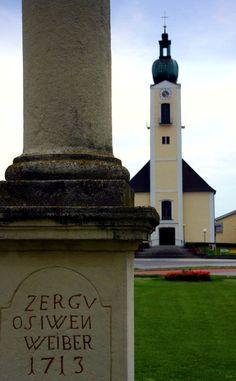 Pestsäule, Kirche - Sankt Andra am Zicksee Vienna Woods, Kirchen, Pisa, Genealogy, Austria, Statue Of Liberty, Tower, Building, Travel