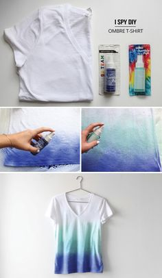 """DIY: ombre t-shirt (make your own). Might also be cool to try taping or covering a section of the shirt in a pattern/design and then removing the tape after spraying so that you get a really cool imprint on the shirt. Dont know if it will work or not though... just a thought"""