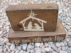 Nativity blocks...this would be super cute with the blocks painted black with linen vinyl.