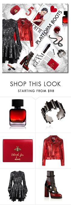 """Kickin' It: Platform Boots"" by lacas ❤ liked on Polyvore featuring The Collection by Phuong Dang, Adrienne Landau, Gucci, Chanel, IRO, Just Cavalli, Burberry, PlatformBoots and valentinesday"