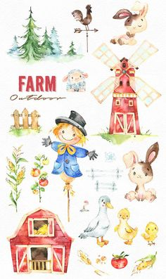 This Farm Outdoor watercolor set is just what you needed for the perfect invitations, craft projects, paper products, party decorations, printable, greetings cards, posters, stationery, scrapbooking, stickers, t-shirts, baby clothes, web designs and much more.  :::::: DETAILS ::::::