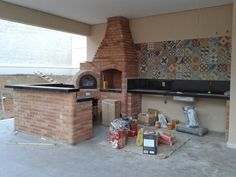 Outdoor Patio Fireplace Brick Ovens New Ideas Diy Porch, Diy Patio, Mosaic Patio Table, Barbecue Garden, Country Patio, Patio Layout, Patio Makeover, Summer Kitchen, Brick Fireplace