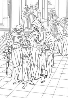 12 Year Old Jesus Found in the Temple coloring page from Jesus childhood category. Select from 20946 printable crafts of cartoons, nature, animals, Bible and many more.
