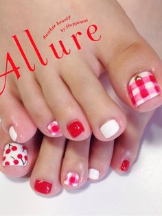 cherry and plaid summer toenails bmodish