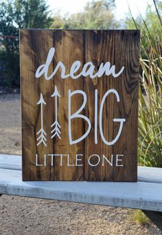 Dream Big Little One - Reclaimed Wood Planked Art - Rustic Nursery / Woodland - gender neutral - arrows - tribal - cusomizable by DevenieDesigns on Etsy
