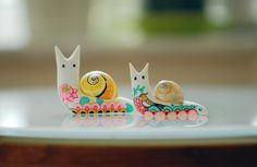 Polymer clay snails...they're so cute. I think I need one for my desk.