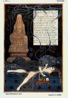 """A highly romanticized illustration of a woman smoking opium, by George Barbier. From the French magazine """"Fantasio,"""" 1915."""
