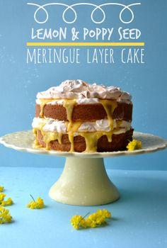 Sweet Gula: O 1º Aniversário do Blog |♣♣| Lemon & Poppy Seed Meringue Layer Cake |♣♣| Bolo Merengado {em camadas} de Limão & Sementes de Papoila