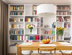 EG Projekt - Grochowski Styl Bookshelves, Bookcase, Home Staging, Apartment Living, House Tours, Sweet Home, Dining Room, Lounge, Design