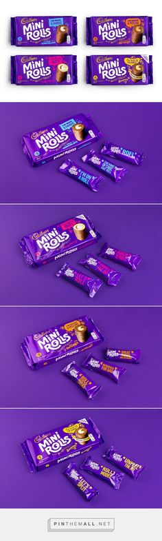 #Cadbury Mini Rolls #packaging designed by Robot Food - http://www.packagingoftheworld.com/2015/05/cadbury-mini-rolls.html