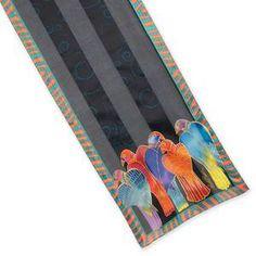 New LAUREL BURCH 100/% Pure Silk SCARF Wrap Throw SUN /& MOON Star Black Red Blue