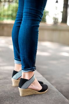 NEW! NEW! NEW! Our beloved espadrille wedge is now made with a canvas enclosed toe and elastic ankle straps for great support. If you are a half size, please size up! Runs short and narrow Approximately 2″ wedge