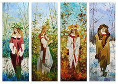 4 pcs Seasons IMPASTO Original Fine Oil Paintings Symbolism Portraits Landscapes #Impressionism
