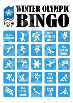 Sochi Winter Olympic Bingo Game Shared by Career Path Design. Olympic Idea, Olympic Games, Senior Olympics, Olympic Crafts, Summer Winter, Cozy Winter, 2018 Winter Olympics, Bingo Games, Winter Games