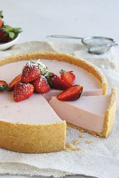 """#RecipeoftheDay: Strawberry Cheesecake by Cup_Cake - """"We all loved this cheesecake. I followed the recipe exactly and it turned out perfectly."""" - TrishJ"""