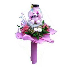 Ballagási szárazvirág csokor rózsaszín kutyával - Szárazvirág díszek webáruháza