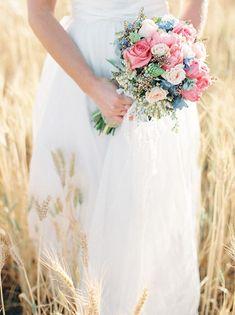 Bouquet en rosa, blanco y azul