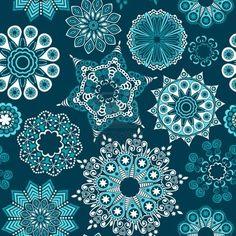 Ornate floral seamless textura, patrón de flores sin fin parece que los copos de nieve o nieve retro.  Seamless pattern puede ser utilizado para papel tapiz, patrones de relleno, fondo de la página web texturas de superficie,.  Foto de archivo