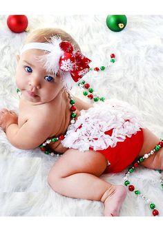 Christmas Chiffon Ruffle Baby Bloomers & Snowflake Headband Set