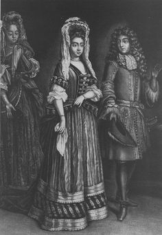 Queen Mary wears a jacket bodice, close skirt, and a high headdress in this print showing her with King William. King William, William And Mary, Baroque Fashion, French Fashion, Prince Of Orange, Queen Mary, Queen Anne, Defender Of The Faith, Riding Habit