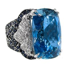 15.30 Carat Aquamarine Sapphire Diamond Gold Ring | From a unique collection of vintage more rings at https://www.1stdibs.com/jewelry/rings/more-rings/