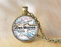 iowa map jewelry   Des Moines Iowa Map Image Necklace by ShakespearesSisters, $10.00