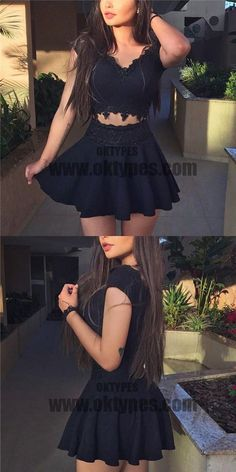 Two Piece Black Homecoming Dress,Little Black Dress,Short Two Pieces Black Prom Dress,Sexy Two Pieces Graduation Dress Two Piece Homecoming Dress, Cheap Homecoming Dresses, Hoco Dresses, Cheap Dresses, Cute Dresses, Beautiful Dresses, Mini Dresses, Dress Prom, Party Dresses