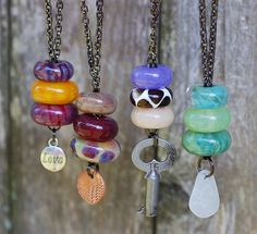 Lampwork Glass Beaded Lariat Necklaces Boro by Venbead, via Flickr