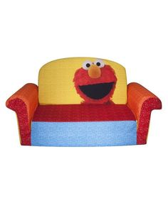 Chesterfield Sofa Flip Open Mini Sofa Sesame Street Elmo Couch Lounger Toddler Foam Children New eBay