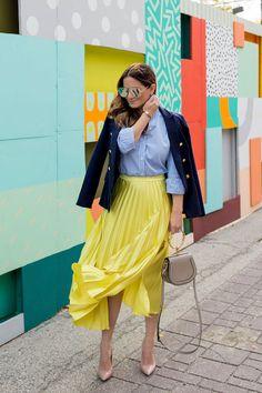 334984abd Jennifer Lake Yellow Pleated Skirt Satin Pleated Skirt