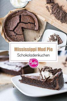 Ein Traum für Schokoladen-Liebhaber! Der Mississippi Mud Pie besteht aus einem Espresso-Mürbteig und einer saftigen, schlammigen Schokoladenfüllung. Unser Lieblings-Schokoladenkuchen. Mit Sahne anrichten und schon haben wir einen einfachen und super leckeren Kuchen-bereit zum genießen. #sallys #sallyswelt #sallysweltrezept #rezept #recipe #schokoladenkuchen #schokokuchen #mudpie #mississippimudpie #fudgy #mürbteig #backen #chocolatecake #schokolade #einfachbacken #schnellesrezept #sahne Breakfast, Super, Espresso, Desserts, Muffins, Food, Just Bake, Cacao Powder, Chocolate Cakes