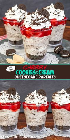 No Bake Cherry Cookies and Cream Cheesecake Parfaits – cookies and cream cheesecake, cherry pie filling, and cookies layered in a parfait cup makes an easy dessert. Great no bake recipe for summer parties. Parfait Desserts, Parfait Recipes, Easy Desserts, Delicious Desserts, No Bake Cheesecake Filling, Cookies And Cream Cheesecake, Cheesecake Cups, Raspberry Cheesecake, Health Desserts