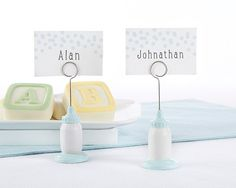 Classic Blue Baby Bottle Place Card Holder (Set of 6)
